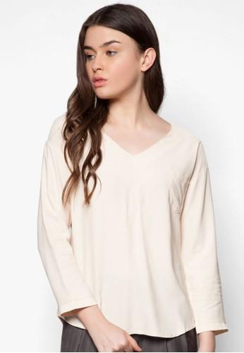 Meringue 寬zalora 內衣鬆V 領長袖衫, 服飾, 上衣