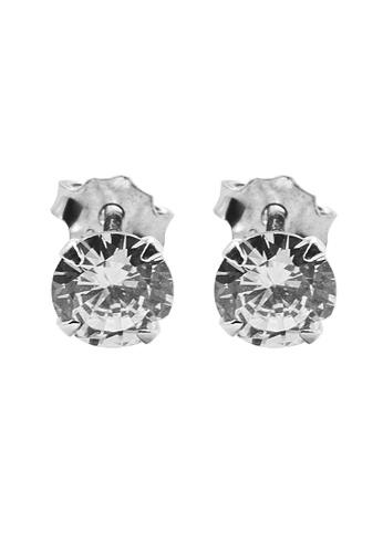 Elfi silver Elfi 925 Sterling Silver Crown 4-Prong Round Moissanite Earrings SE-1M EL186AC92MWXMY_1