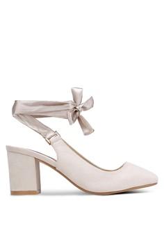 【ZALORA】 麂皮繞踝綁帶粗跟鞋