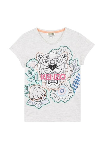 KENZO KIDS grey and pink and blue KENZO TIGER T-SHIRT FOR GIRLS. 04F89KAFF7FD60GS_1