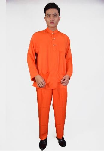 Denai Boutique orange Baju Melayu Al-Hadi F3FEBAA70F12C5GS_1