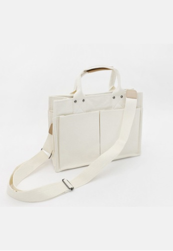 Seoul in Love white and beige Keong Multi function Sling bag in White 86464ACF83B54EGS_1