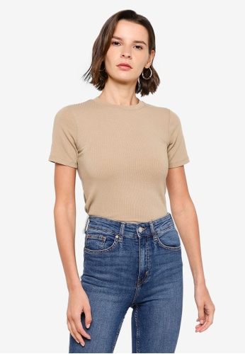 H&M beige Ribbed T-Shirt 9BE9CAA9DEB113GS_1