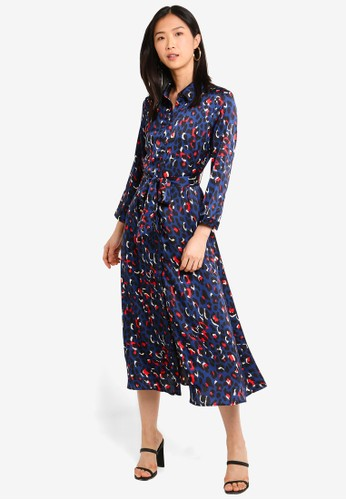 bYSI blue Button Up Belted Print Dress 95208AA1B7F313GS_1
