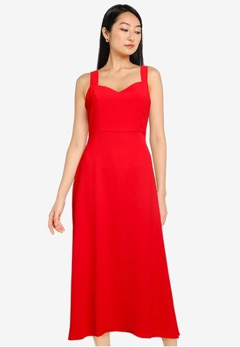 ZALORA BASICS red Sweetheart Neckline Midi Dress 4D48DAA404483CGS_1
