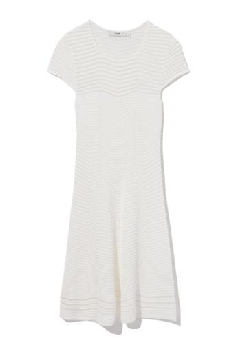 b+ab white Sheer striped knit dress 7738DAAB139DF5GS_1