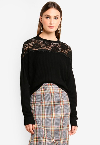 bYSI black Floral Lace Panel Knit Top BF330AA9B2B5B9GS_1