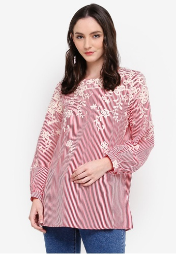TOPGIRL red Embroidered Stripe Long Sleeve Blouse 7325EAACE96199GS_1