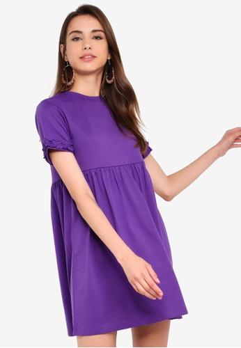 Something Borrowed 紫色 荷葉T恤洋裝 429D7AADE37BD5GS_1