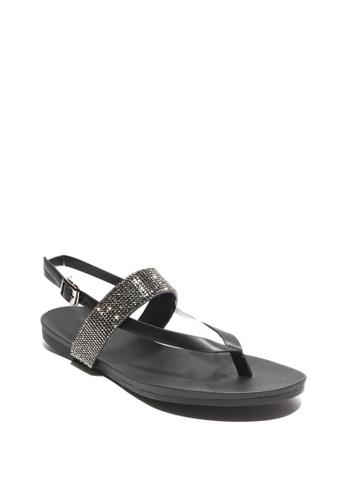 7soles black Ronna Ladies Sandals 96DD6SHD251C84GS_1