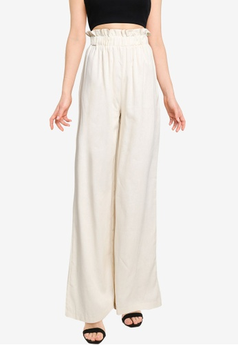 MISSGUIDED beige Paperbag Wide Leg Trousers 4DE28AA247978FGS_1