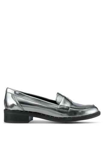 Carvela KG grey and silver Metallic Loafers CA459SH0SCLLMY_1