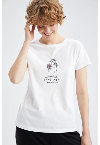 DeFacto white Short Sleeve Round Neck Cotton T-Shirt 24361AA3D4C26DGS_1
