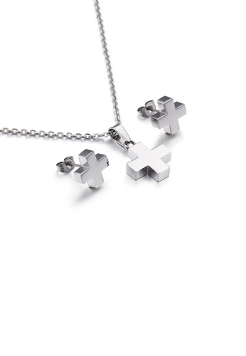 Glamorousky silver Simple Classic Cross 316L Stainless Steel Necklace and Stud Earrings Set 9A3B2ACA27106BGS_1