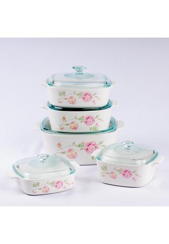 Corningware white Corningware 10 Pcs Casserole Set With Glass Cover - Country Rose 0A4EAHLF961440GS_1