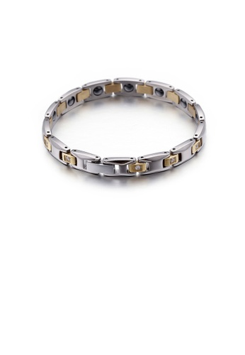 Glamorousky silver Simple Personality Two-color Geometric 316L Stainless Steel Bracelet with Cubic Zirconia A6048AC41609FCGS_1