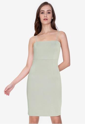 ZALORA WORK blue Square Neck Cami Bodycon Dress B656FAA76B4174GS_1