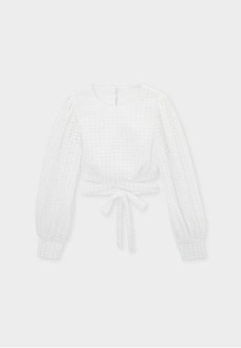 Pomelo white Crochet Cross Open Back Blouse - Off-White EF9C2AA765F966GS_1