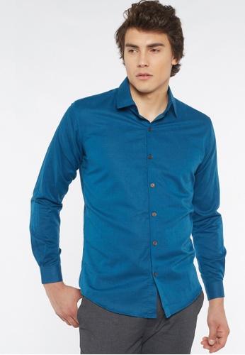 Août blue Août Singapore - Men's Long Sleeved Linen Shirt - Margot D1859AAC372719GS_1