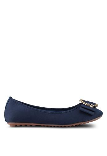 Mimosa blue Diamante Embellished Bow Flats B222FSHFEE6829GS_1