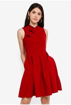 45026fe6b7e5 JULY red Alfyn Cheongsam Midi Dress D8F9DAA78A6CEAGS_1