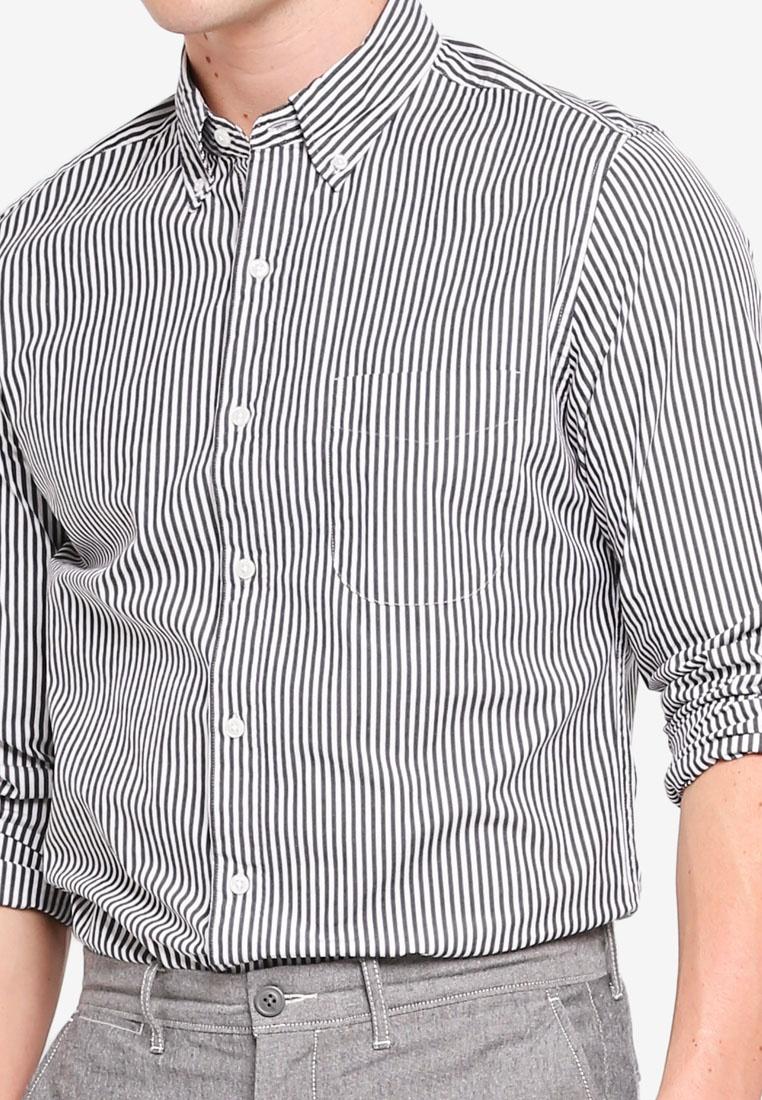 Crew Stripe Black Poplin Shirt J xUwtUY