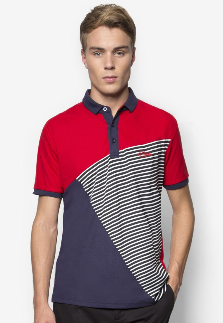 Line Patching Contrast Color Polo Tee