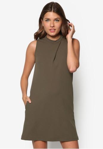 褶飾直筒連身裙, 服飾,zalora時尚購物網評價 正式洋裝