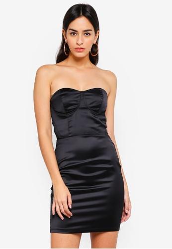 036546e3352c MISSGUIDED black Satin Bustcup Bandeau Bodycon Dress E52E0AA31C464CGS_1