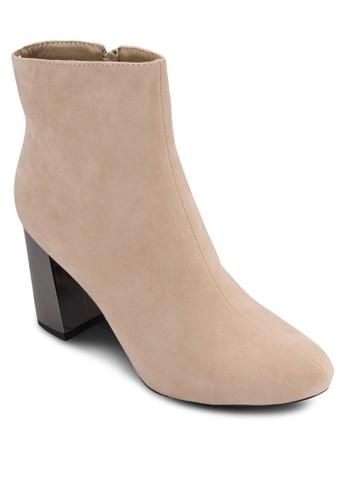金屬粗跟仿麂皮踝靴, 女鞋esprit暢貨中心, 鞋