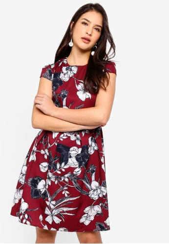ZALORA multi Cap Sleeves Pleated Fit And Flare Dress D0962AA1E8DF14GS_1