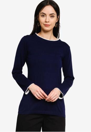 Zalia blue Border Lace Round Neck Sweater F503FAA2C14FBDGS_1