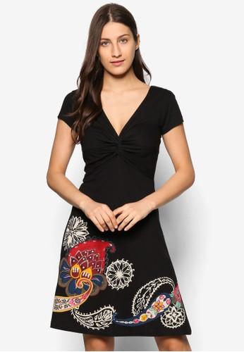 Patsy 前後V 領印花esprit分店連身裙, 服飾, 服飾