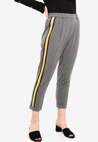 Something Borrowed grey Striped Trim Track Pants 9D84CAAA13BA7AGS_1