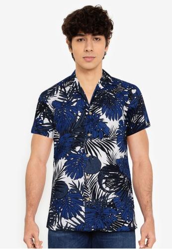 Springfield blue Tropical Print Short-Sleeved Shirt F9925AA8F46070GS_1