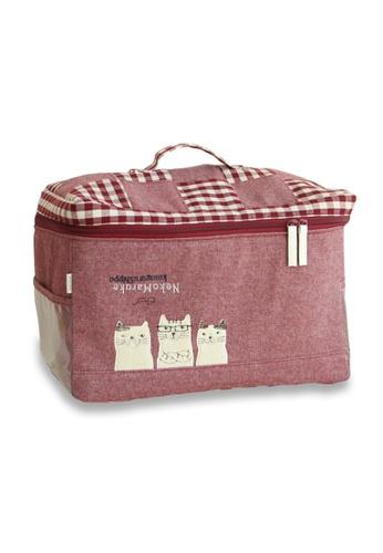 LULUGIFT red Lulugift Neko Maruke Kusuguru Shippo Travel Storage Bag Red LU989AC0SDLUMY_1