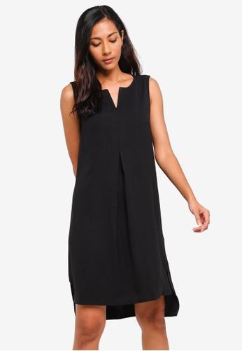 ZALORA BASICS black Basic Notch Neck Straight Shift Dress 5EA95AA1FEAF75GS_1
