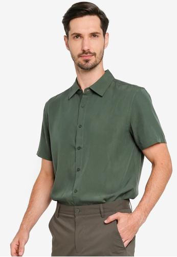 URBAN REVIVO green Trendy Minimal Shirt 6D245AA8A8D13CGS_1