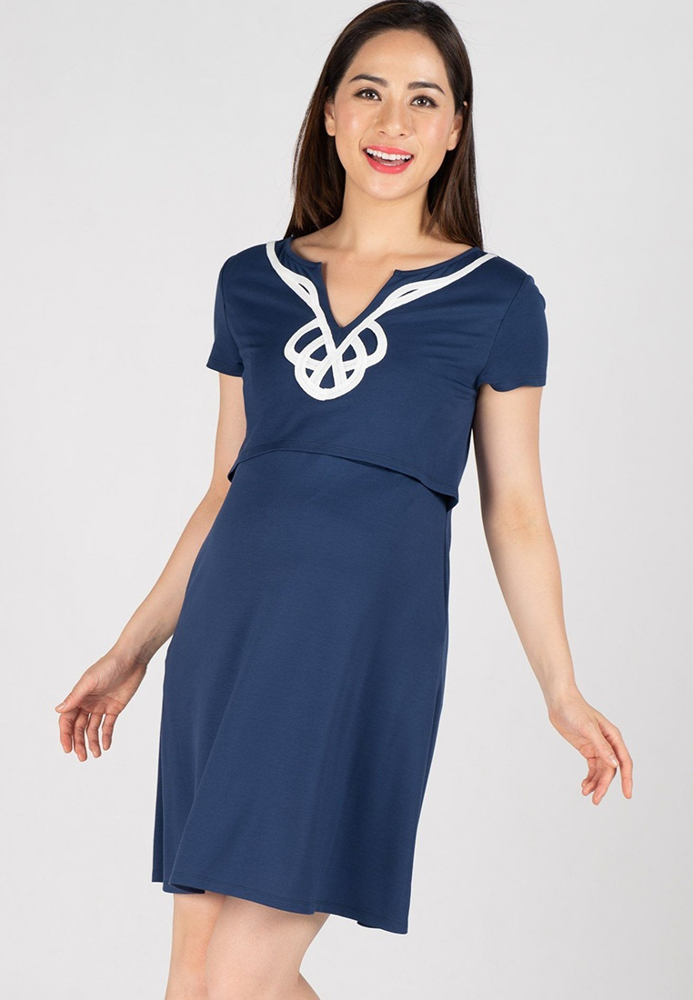 Intricate Dress T MOTHERCOT Nursing Navy Shirt A8qrAanY