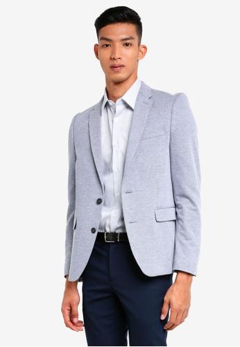 Burton Menswear London blue Light Blue Pique Jersey Blazer D8729AA788769BGS_1