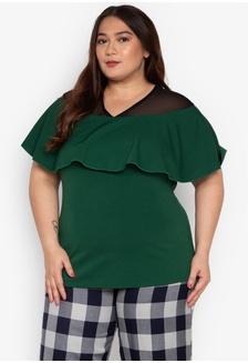 2b1002516d18e Shop Curvy Plus Size Willow Ruffle Pencil Skirt Online on ZALORA ...