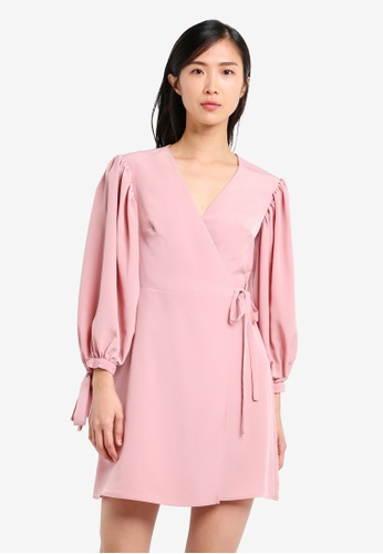 TOPSHOP pink Ovoid Sleeve Wrap Dress TO412AA0SRRDMY_1