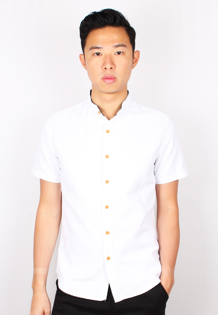 Classic Shirt White Mandarin Moley Short Sleeve Collar B7ZwB