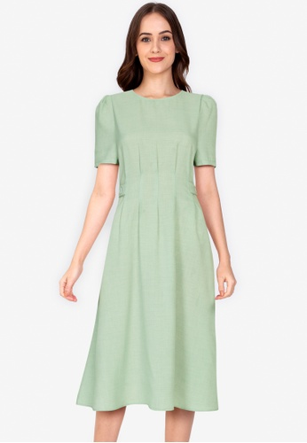 ZALORA WORK green Side Button Short Sleeves Dress 48DD2AA1810D7FGS_1