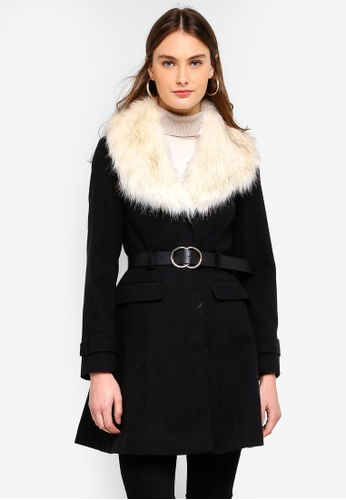 Buy Miss Selfridge Black Faux Fur Fit   Flare Coat Online on ZALORA ... 69c8dbc7d325f
