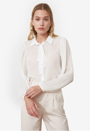 Trendyol white Tie Collar Detail Blouse 136C8AA4E34FB5GS_1