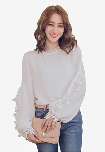 YOCO white Lace Cut Out Sleeves Blouse 094F7AAE041348GS_1