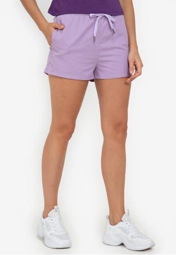 ZALORA ACTIVE purple Graphic Printed Elastic Banded Shorts 2AD4DAA843DA9FGS_1