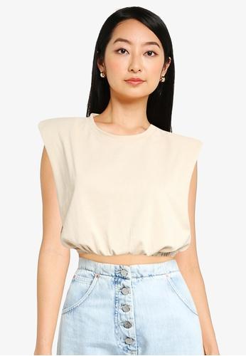 ZALORA BASICS beige Shoulder Pad Crop T Shirt 4D435AAA8DA9CEGS_1