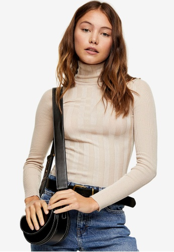 TOPSHOP beige Mixed Ribbed Roll Neck Knitted Jumper A447EAA0BBB87FGS_1